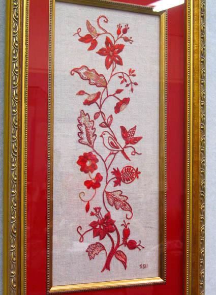 Jacobean redwork by Rae Siebenhausen