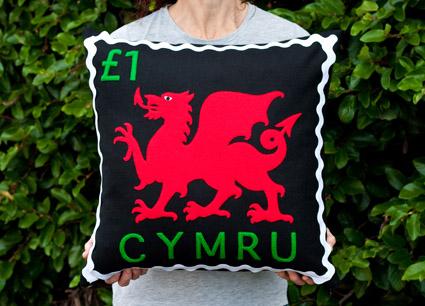 Welsh dragon stamp cushion